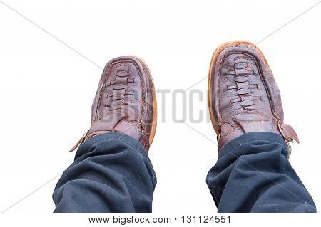 Business man in brown shoes walking for next achievement isolated on white background, with clipping path