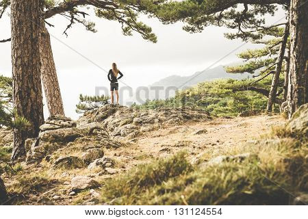 A girl admiring the view on Corsica, France