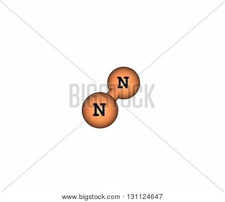 Nitrogen is the chemical element. At room temperature it is a gas of diatomic molecules and is colorless and odorless. Nitrogen is a common element in the universe. 3d illustration