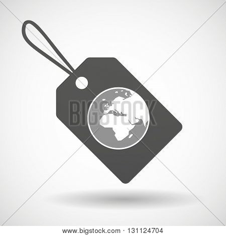 Isolated Shopping Label Icon With   An Asia, Africa And Europe Regions World Globe