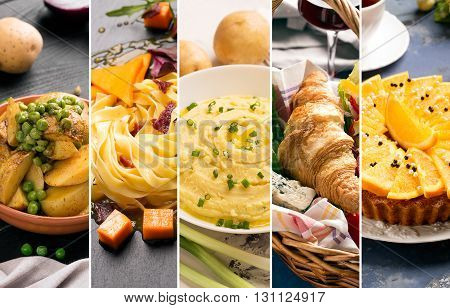 Collage of photos of natural food (in yellow colors)