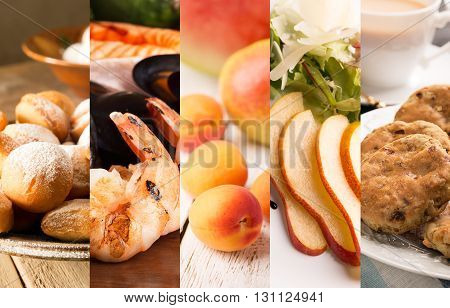 Collage of photos of natural food (in orange colors)
