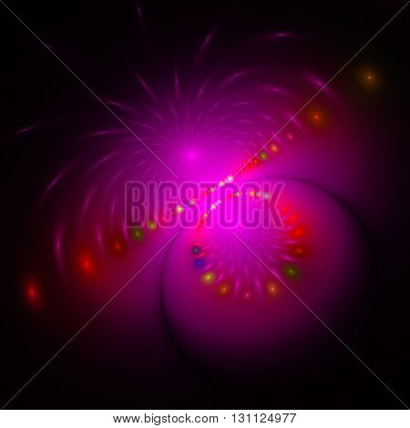 Electromagnetic field. Northern Lights. Mysterious psychedelic relaxation wallpaper. Sacred geometry. Fractal abstract pattern. Digital artwork creative graphic design.