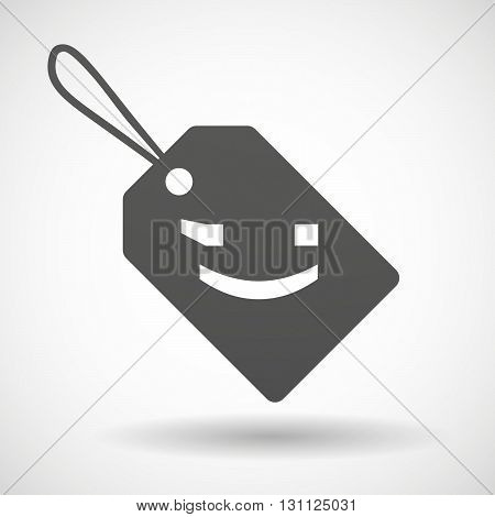 Isolated Shopping Label Icon With  A Wink Text Face Emoticon