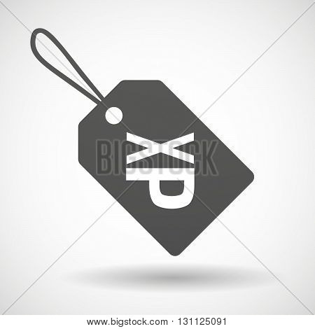 Isolated Shopping Label Icon With  A Tongue Sticking Text Face Emoticon