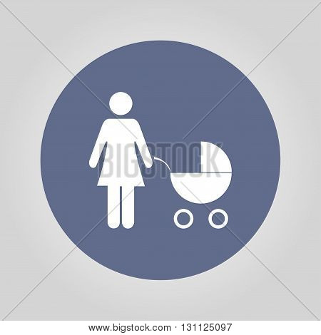 Woman with pram pictogram flat icon. design style eps 10