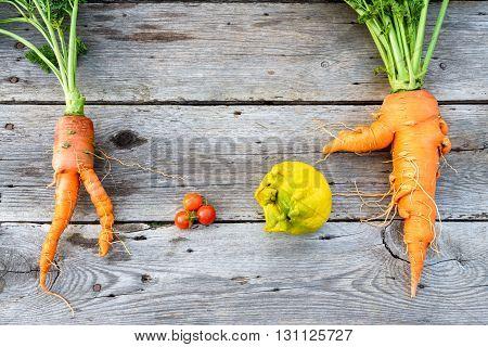 Trendy organic carrot tomatos leek and lemob from home garden bed on barn wood table Australian grown.