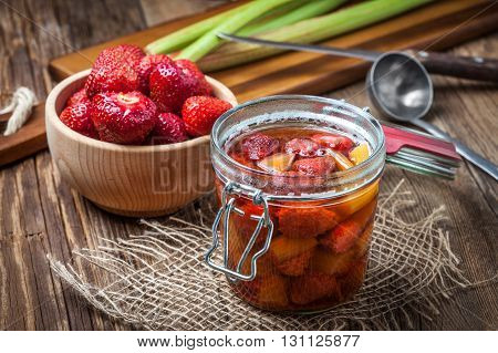 Homemade Compote Of Rhubarb And Strawberries.