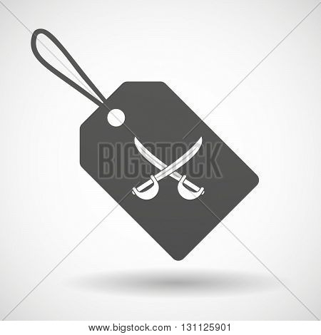 Isolated Shopping Label Icon With  Two Swords Crossed
