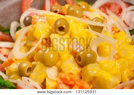 Traditional Portuguese Mayonnaise Potatoes Salad with vegetables
