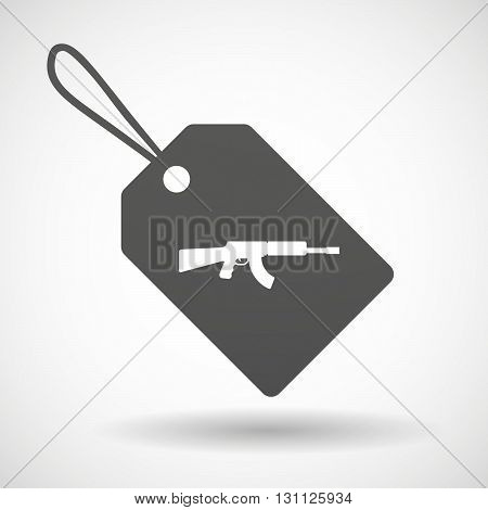 Isolated Shopping Label Icon With  A Machine Gun Sign