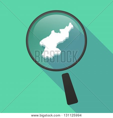 Long Shadow Magnifier Vector Icon With  The Map Of North Korea