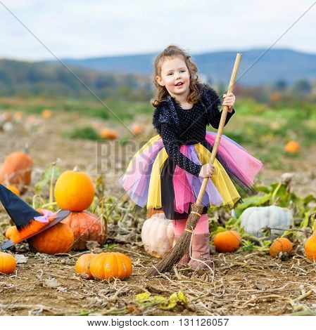 Cute little girl of 3 years wearing halloween witch costume having fun on a pumpkin patch. Traditional family festival with children.