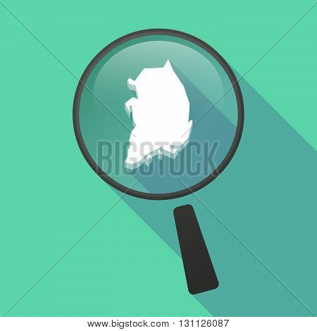 Long Shadow Magnifier Vector Icon With  The Map Of South Korea