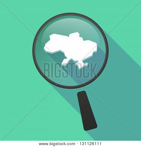 Long Shadow Magnifier Vector Icon With  The Map Of Ukraine