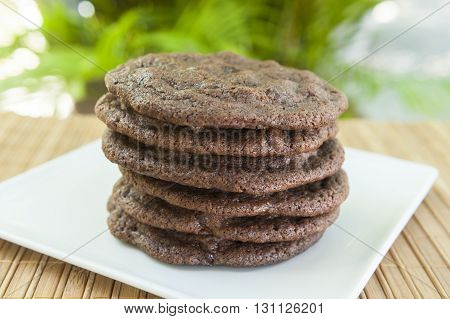 Stack of Double Chocolate Chip Cookies on a white plate outdoors