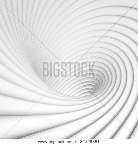 3d Illustration of Abstract Tunnel Background. White Circular Building