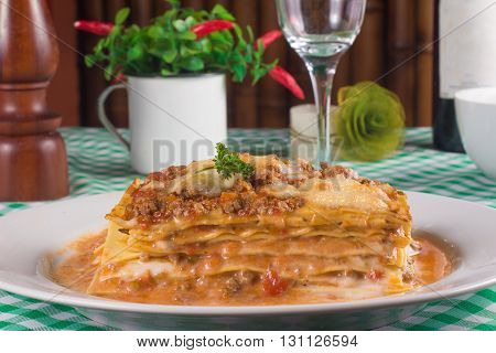 Traditional Italian Bolognese and al sugo Lasagna