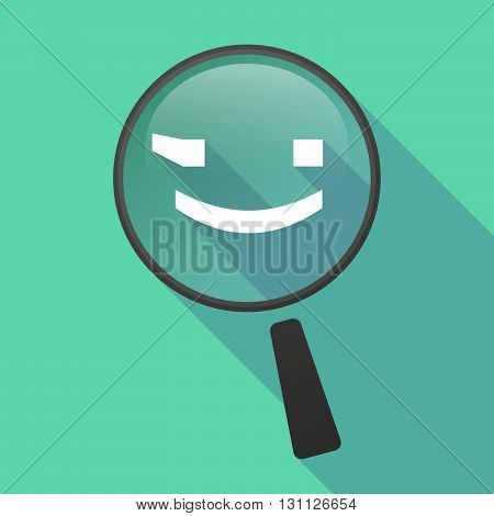 Long Shadow Magnifier Vector Icon With  A Wink Text Face Emoticon