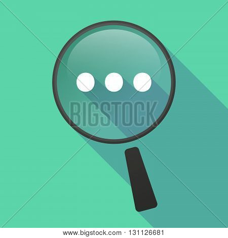 Long Shadow Magnifier Vector Icon With  An Ellipsis Orthographic Sign