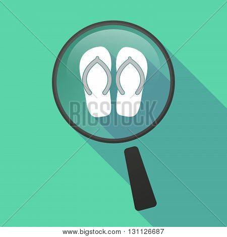 Long Shadow Magnifier Vector Icon With   A Pair Of Flops