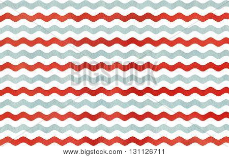 Abstract watercolor red and blue wavy striped background. Wavy striped pattern.