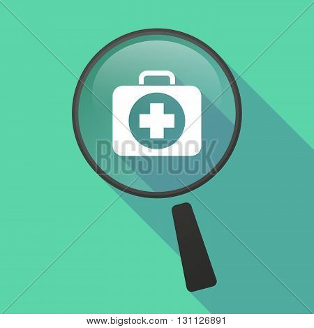Long Shadow Magnifier Vector Icon With  A First Aid Kit Icon