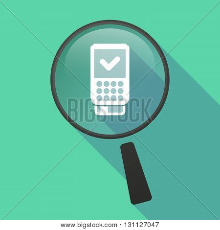 Long Shadow Magnifier Vector Icon With  A Dataphone Icon