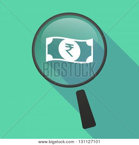 Long Shadow Magnifier Vector Icon With  A Rupee Bank Note Icon