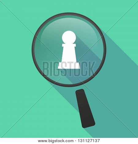 Long Shadow Magnifier Vector Icon With A  Pawn Chess Figure