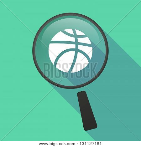 Long Shadow Magnifier Vector Icon With  A Basketball Ball