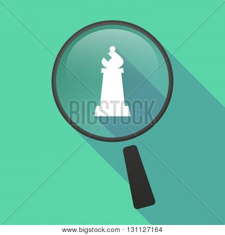 Long Shadow Magnifier Vector Icon With A Bishop    Chess Figure