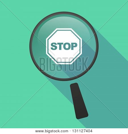 Long Shadow Magnifier Vector Icon With  A Stop Signal