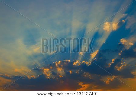 Beautiful sky with clouds and sun rays