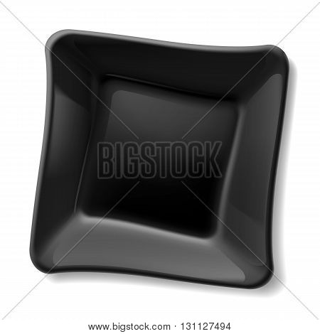 Empty square black plate isolated on white background