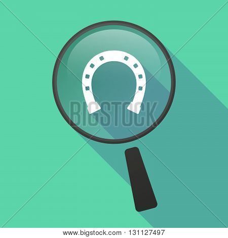 Long Shadow Magnifier Vector Icon With  A Horseshoe Sign
