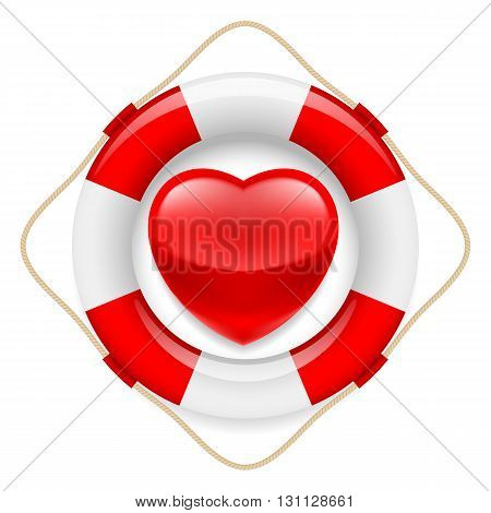 Red glossy heart in safety ring. Metaphor of love or life saving