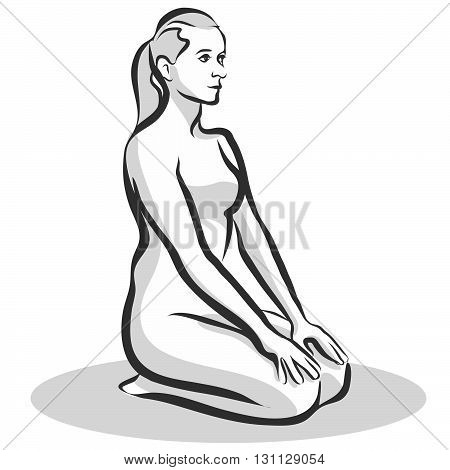 Hand Drawn Thunderbolt Vajrasana Pose, Yoga Woman