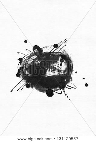 Large grainy abstract illustration with black ink circle hand drawn with brush and liquid ink on watercolor paper. Drawn with imperfections spray splashes ink drops and lines. Isolated on white.