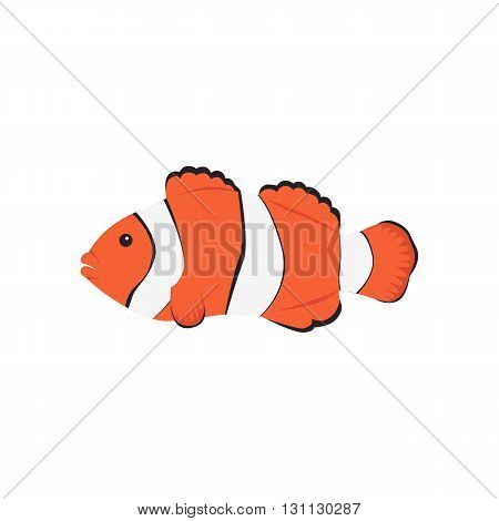 Clown fish cartoon. Tropical sea life theme. Cute orange fish vector illustration isolated