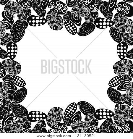 Border frame with stones and copy-space for text - vector illustration. Coloring book page for adult. Hand drawn artwork.