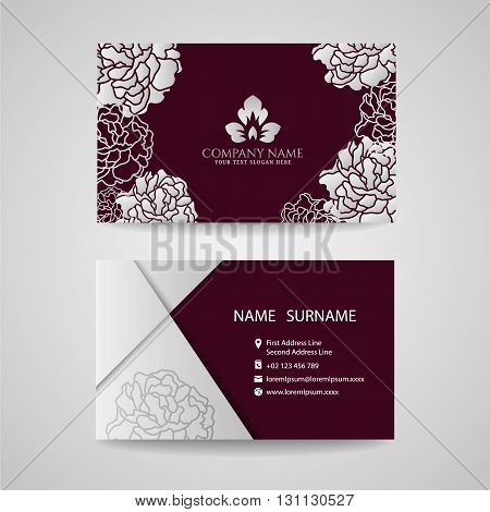 Business card - Silver floral frame and leaf logo on Crimson background