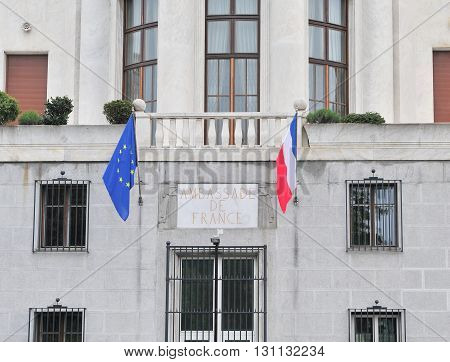 BELGRADE SERBIA - APRIL 30: View of the Embassy of France in centre of Belgrade on April 30 2016.