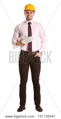 Young male construction engineer isolated on white
