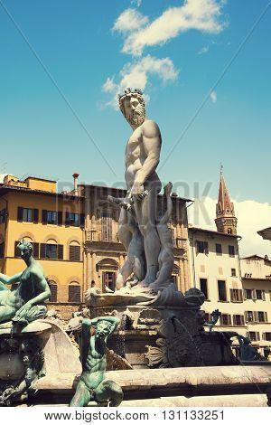 Famous Fountain of Neptune on Piazza della Signoria in Florence, Italy