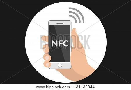 NFC concept flat icon payment with mobile phone