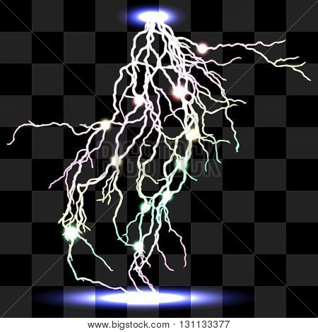 Vector isolated realistic lightnings with transparency for design. Thunder-storm and lightnings. Magic and bright lighting effects. Natural effects Colors effects