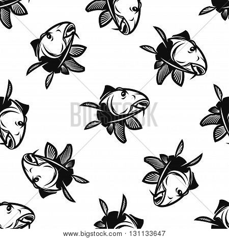 Seamless Pattern With Silhouette of Carp Isolated On White Background. Vector EPS10.