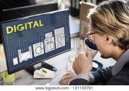 Digital Electronic Marketing Innovation Wireless Concept