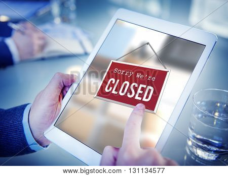 Closed Signage Marketing Shop Concept